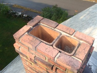NortheastChimneySweeps.com Unlined Flue Woburn Ma Flue Liners Caps Pointing Repairs